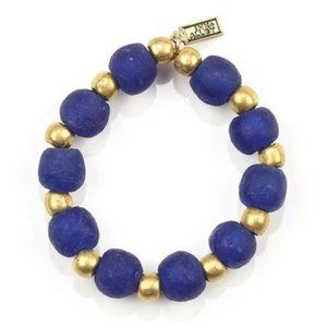 NWT Ink + Alloy Cobalt Glass and Brass Bracelet